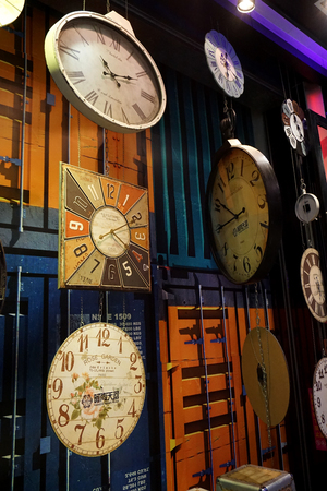 Clocks hanging on the wall