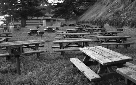 A Picnic area empty in B&W