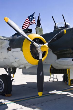 A vintage WWII aircraft on Display at an Airshow. Stock Photo