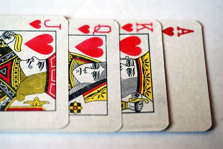 The King, Queen, Jack and Ace of the Hearts suit from a deck of playing cards Stock Photo - 3143477