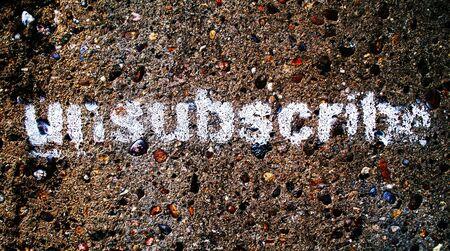 Een stencilled graffiti woord afmelden, kan worden gebruikt als een knop op een website of in een sociale protest verklaring