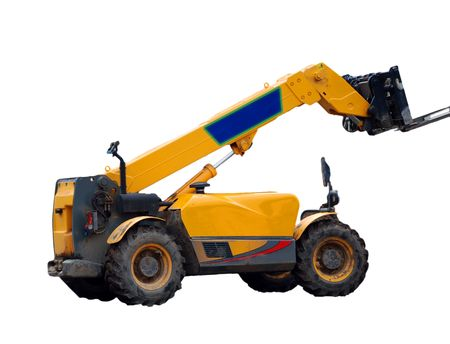 A photograph of a fork-lift truck isolated on a white background with copy space photo