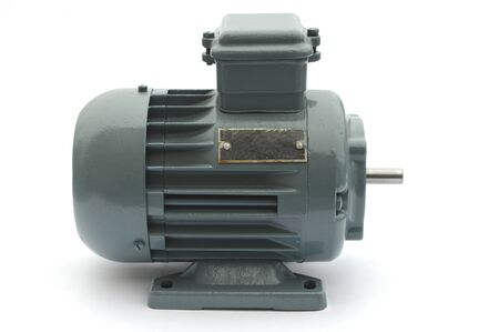 gray metal electric motor on a white background