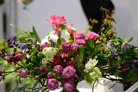 bouquet of live flowers collected in the composition horizontal photo Imagens