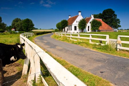 Countryside grassland with white building  and road