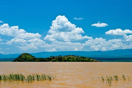 Landscape of the Victoria lake in Kenya with blue sky Stock Photo