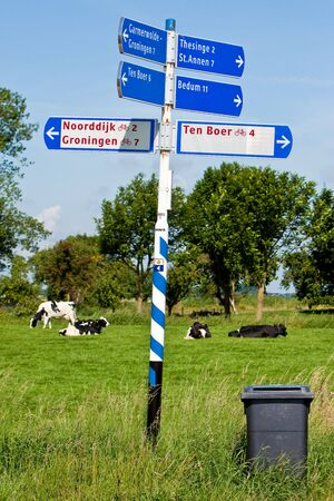 Direction sign of a road in the countryside  with cows on the background Stock Photo - 5352182