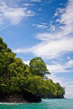 Rocky coastline and jungle near the sea with blue sky 免版税图像