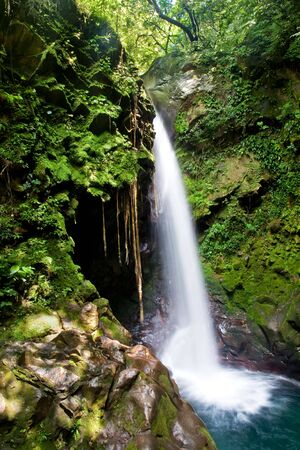 Beautiful waterfall in the tropical rain forest photo