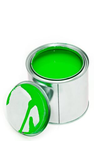 Paint can with cover isolated on white background 写真素材