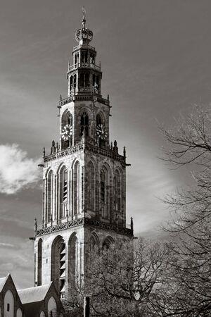 groningen: Cityscape van Groningen met de Martini kerk toren