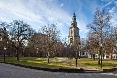 Cityscape of Groningen with the Martini church tower 写真素材