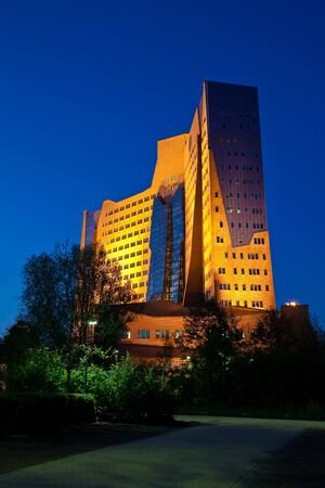 groningen: Business building in the evening in the city Groningen