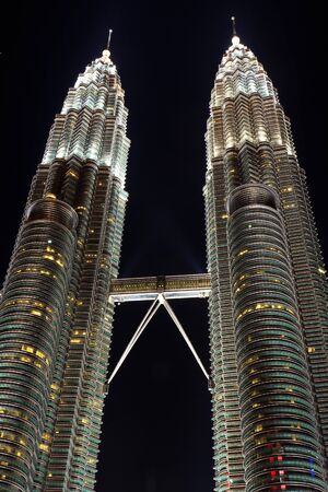 twin towers in the city Kuala Lumpur at night