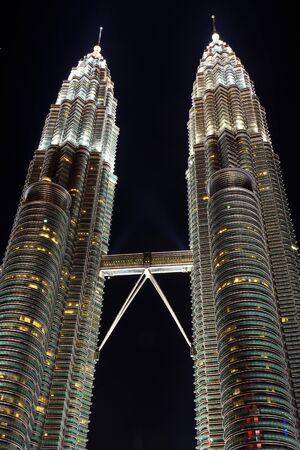 twin towers in the city Kuala Lumpur at night