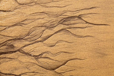Artistic shapes in the sand on the beach photo