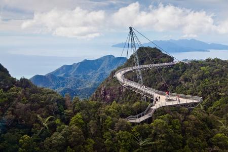 Walking bridge in the mountains on Lankawi island, Malaysia