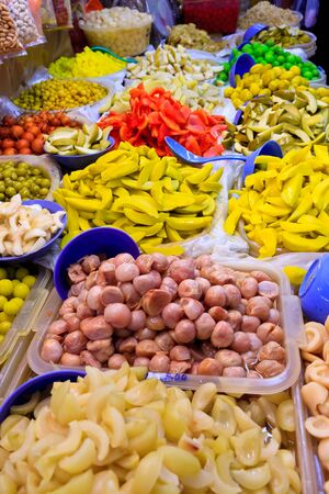 colorfull: Asian market with baskets of colorfull fruit Stock Photo