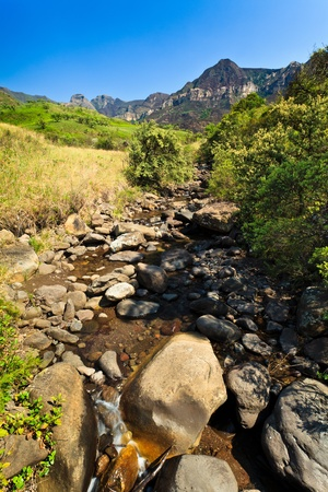 riverbed: Riverbed with mountains in the background on a sunny day