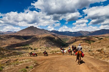 horseback riding: Pony trail adventure in the mountains of africa