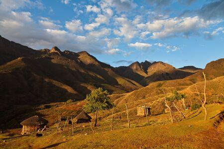 Small mountain village  in beautiful evening light photo
