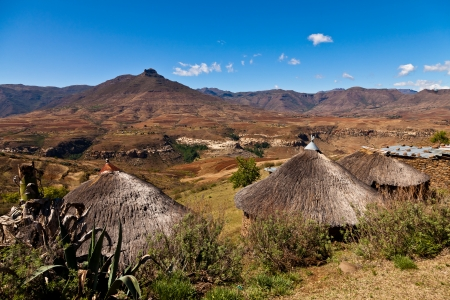 Mountain village  iin Africa on a sunny day