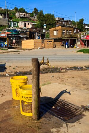 poor health: Water supply in a Township in South Africa