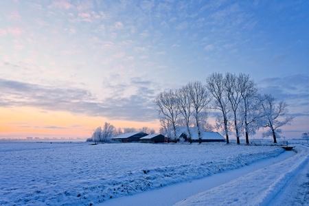 Farm in a cold white winter landscape Stock Photo - 13333802