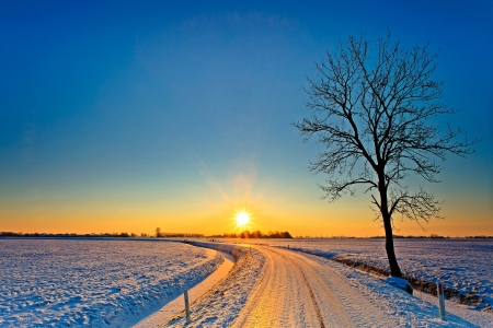 Sunset in a cold white winter landscape