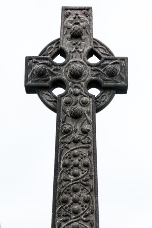 grave stone: Old celtic grave stone isolated in white
