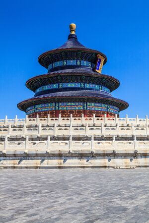 Temple of Heaven in Beijing with clear blue sky photo