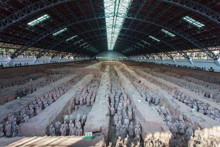Terracotta army in big hall, Xian China