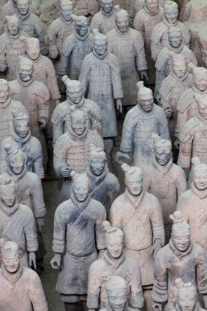 Terracotta warriors in detail in Xian China