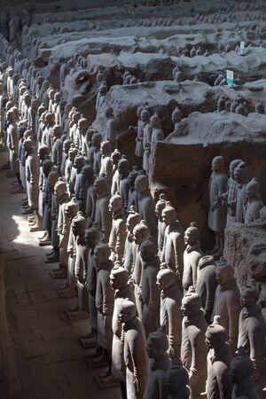Terracotta warriors lit by sun light, Xian China