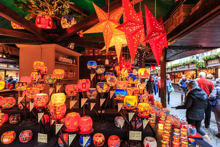 weihnachtsmarkt: Christmas objects at a Christmas market stall