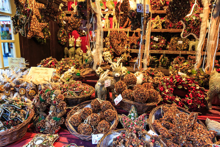 market stall: Christmas decorations at a Christmas market stall