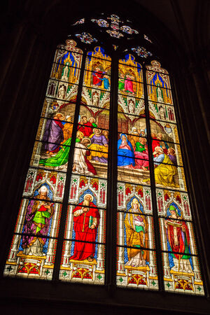 christianity palm sunday: Stained glass window from within the Dom church in Cologne with religious persons