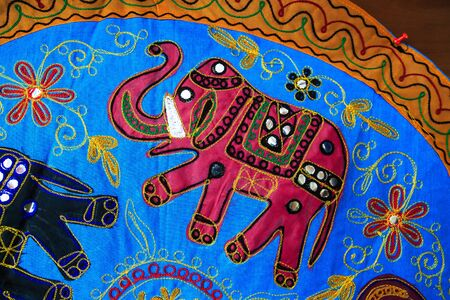 asian art: Cloth with Asian elephant art in detail