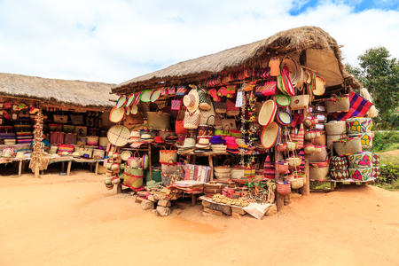 Souvenir shop along the road in Africa, Madagascar
