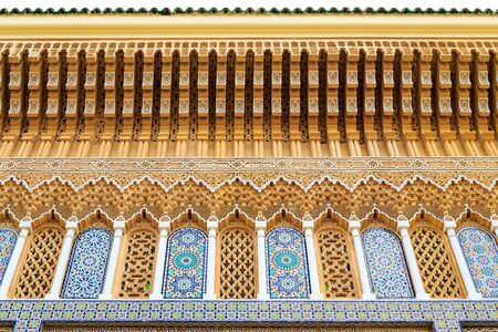 fes: Tiny details of the roof at the Royal palace in Fes Morocco