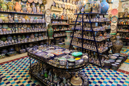 Colorful ceramic souvenirs for sale in a shop in Morocco
