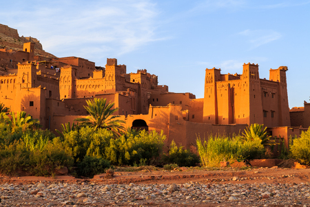 Kasbah Ait Ben Haddou in the Moroccan Atlas mountains at sunset Stock Photo