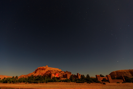 Kasbah Ait Ben Haddou at night in the Moroccan Atlas mountains