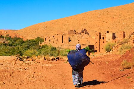 carying: Moroccan woman carying a big bag with herbs with kasbah in the background against the hills