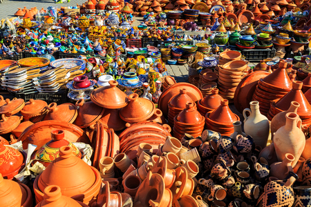 Colorful ceramic souvenirs for sale in a shop in Morocco