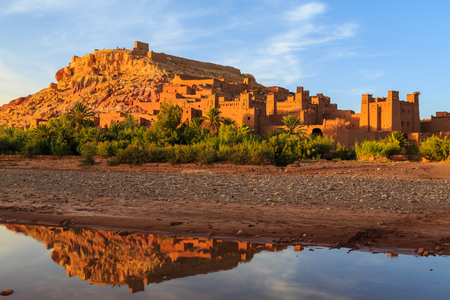 Kasbah Ait Ben Haddou in the Moroccan Atlas mountains at sunset Redakční