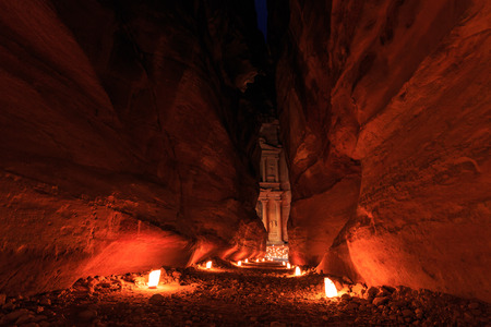 The Treasury, Petra By Night. An Ancient City of Petra, Al Khazneh in Jordan