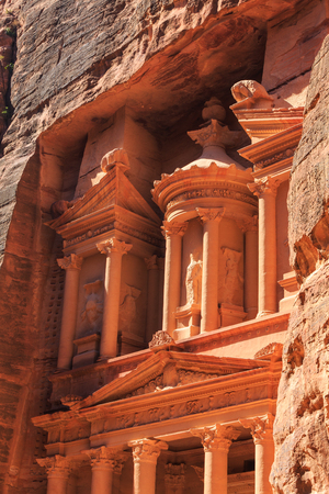 Detail of the Treasury at Petra the ancient City  Al Khazneh in Jordan lit by the sun