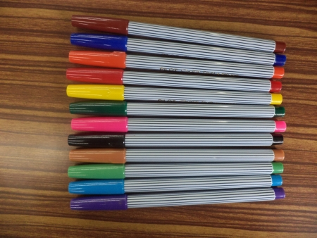fine tip: Colorful markers pens Stock Photo