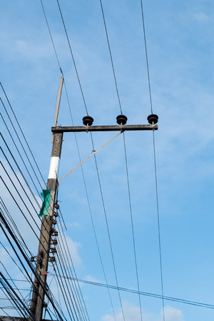 power cables: Power cables on a pole. Stock Photo